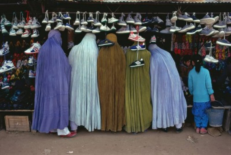 Women Shoppers Dressed in Tradional Burqa